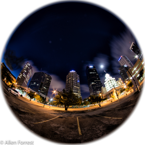 Old Tampa City Hall surrounded by skyscrapers in downtown Tampa. Fisheye lens