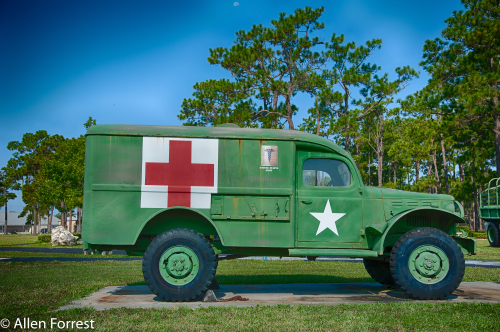 3/4 Ton, 4X4 Ambulance, 26,000 manufactured by Dodge for the Army between 1942 and 1944, displayed at Camp Blanding near Starke, Florida.