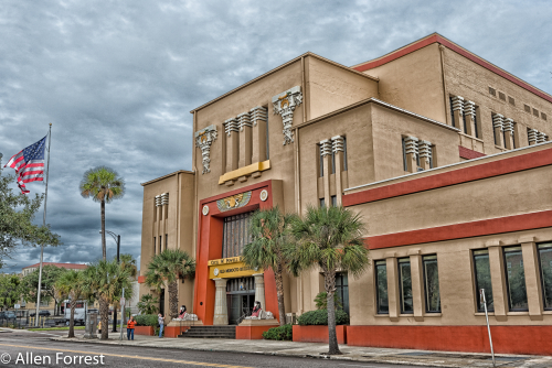 Old Morocco Building, Jacksonville, Florida. The grand building was erected in 1910-11 in the prairie style of architecture using Egyptian-themed symbols. The building is the oldest Shrine temple in Florida.