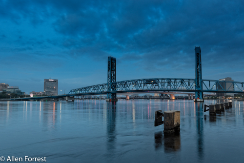Downtown Jacksonville across the St. Johns River before sunrise.