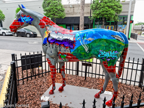 """""""Urban Art"""" by Kayleb Higgins, Horse Fever 2011 project statue outside Marion Theater, downtown Ocala, Florida"""